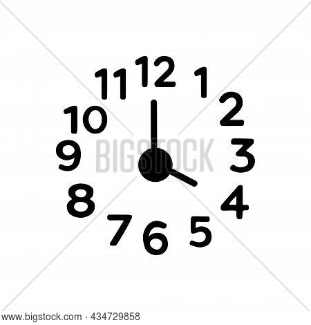 Black Solid Icon For Four Number Clock Watch Timer Timepiece Horologe Time Analog Countdown