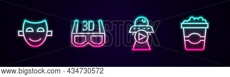 Set Line Comedy Theatrical Mask, 3d Cinema Glasses, Science Fiction And Popcorn Cardboard Box. Glowi