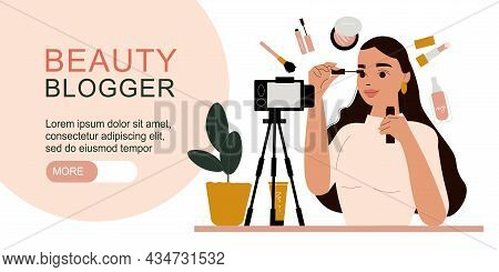Flat Horizontal Banner With Editable Text And Female Beauty Blogger Recording Makeup Tutorial On Cam