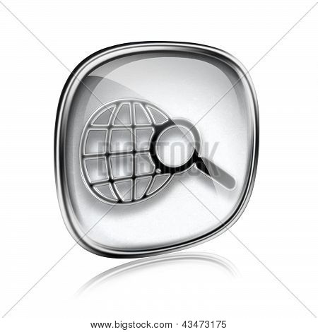 Globe And Magnifier Icon Grey Glass, Isolated On White Background.