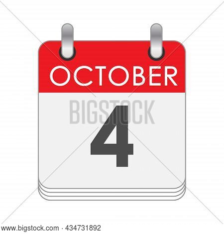 October 4. A Leaf Of The Flip Calendar With The Date Of October 4. Flat Style.