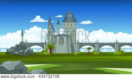 Bridges Colored Composition Stone Structure Linking Large Castle With Small Tower And Rest Of The La