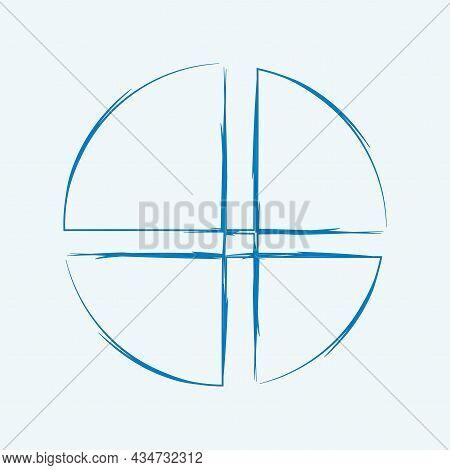 Circle Segment Art Icon. Paint Pen Picture. Hand Drawn. Business Backdrop. Flat Design. Vector Illus