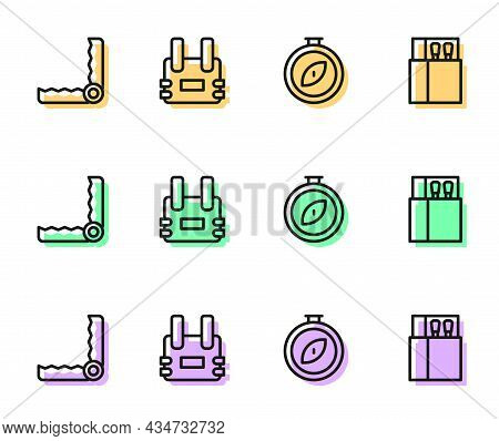 Set Line Compass, Trap Hunting, Bulletproof Vest And Open Matchbox And Matches Icon. Vector