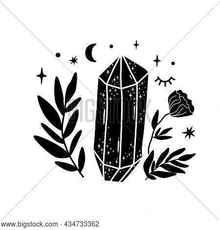 Spirituality Crystal Logo. Moon Flower. Black Graphic Magical Stone. Spiritual Stone Illustration. H