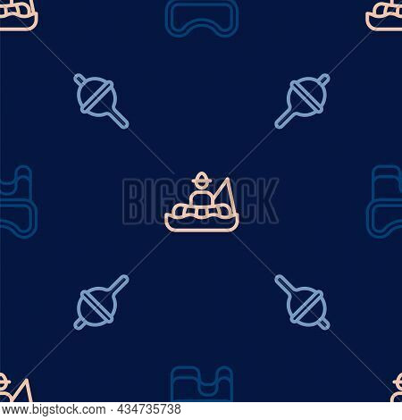 Set Line Diving Mask, Fishing Float And Fisherman Boat On Seamless Pattern. Vector