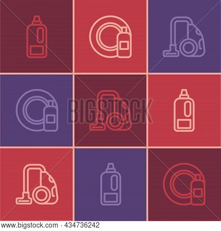 Set Line Bottle For Detergent, Vacuum Cleaner And Dishwashing Bottle And Plate Icon. Vector