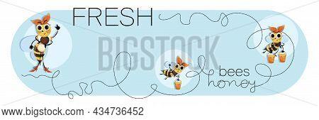 Swarm Bees. Honey Bees. Cartoon Cute Character. Bee Horizontal Poster, Banner. Vector Illustration