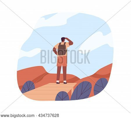 Tourist In Adventure, Looking Forward, Exploring Nature. Hiker Travel, Standing On Top Of Mountains