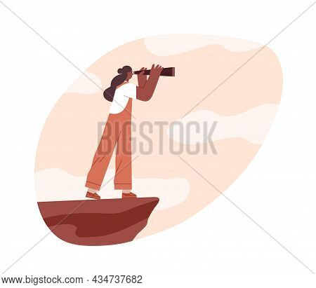 Person Looking Forward In Future Challenges Through Spyglass. Strategy And Vision Concept. Woman Sea