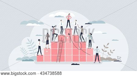 Hierarchy Rank And Pyramid Type Career Development Ladder Tiny Person Concept. Company Organization