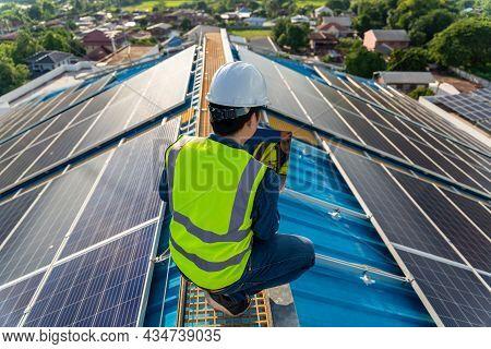Maintenance Solar Power, Engineer Working, Operation And Maintenance In Solar Power Plant On Rooftop