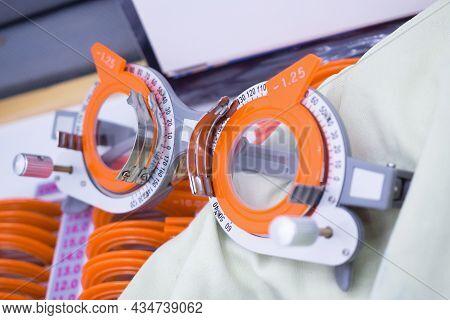 Set Of Trial Lenses For Phoropter For Eye Examination