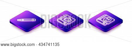 Set Isometric Line Pencil With Eraser, Photo Album Gallery And Book Icon. Vector