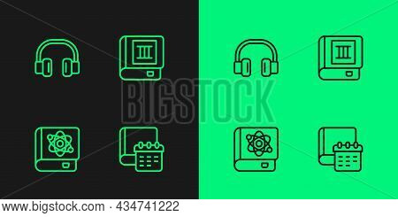Set Line Daily Paper Notepad, Book About Physics, Headphones And Icon. Vector