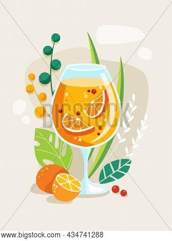 Summer Tropical Cocktail Bahama Mama. Vector Illustration