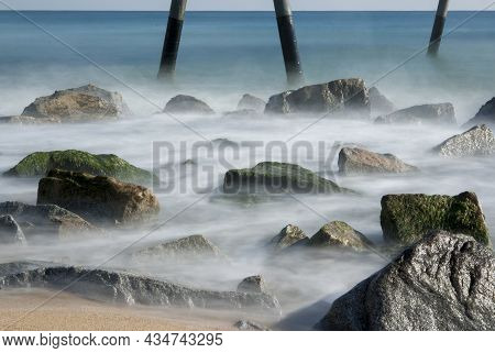 Mediterranean Sea With View To The Pontoon And Beach - Pont Del Petroli, Badalona, Barcelona, Catalo