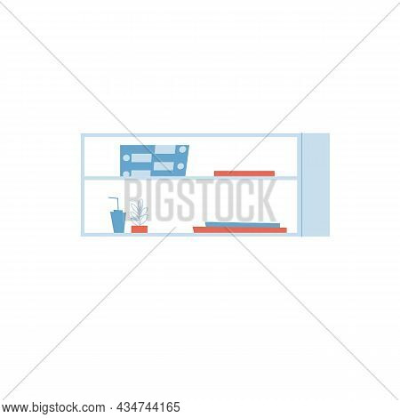 Vector Flat Cartoon Shelf With Different Books, Home Plant And Stuff Isolated On Empty Background-fu