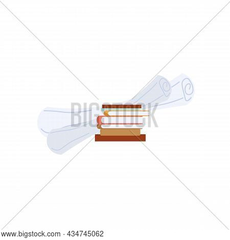 Vector Cartoon Flat Stack Of Books, Textooks And Papers Isolated On Empty Background.literary Or Sci