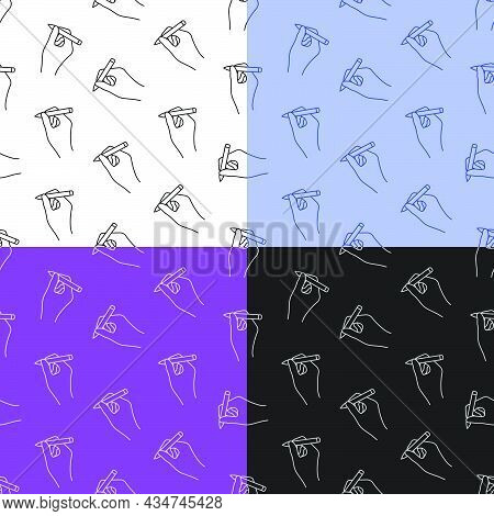 Set Of Seamless Patterns With Ballpoint Pen In Hand Of Author. Signature On Paper From Writer Or Art