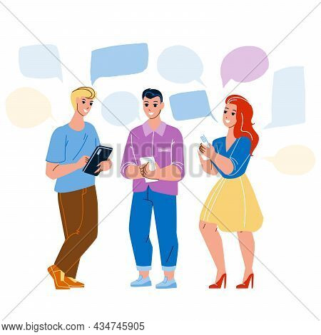 People Chatting On Smartphone Application Vector. Boy And Girl Chatting On Phone App Together, Writi