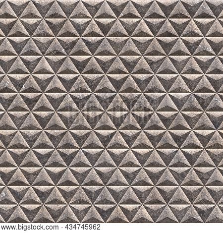 Basalt Flemish Triangular Tiles. Tiles With Basalt Granulate In The Form Of Triangles Cover The Enti