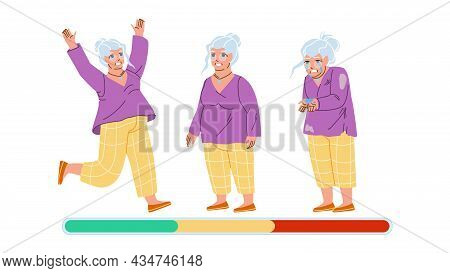 Old Woman Mood Laugh, Smile And Unhappy Vector. Happy Grandmother Mood Jumping, Standing And Smile,