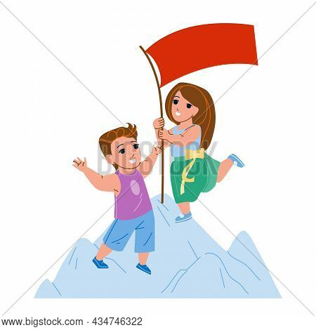 Children Goal And Successful Achievement Vector. Cheerful Boy And Girl Installing Flag On Mountain P
