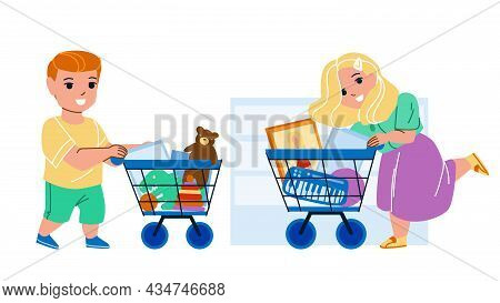 Toy Shop Children Clients Making Purchase Vector. Boy And Girl Kids Buying Doll And Game In Toy Shop
