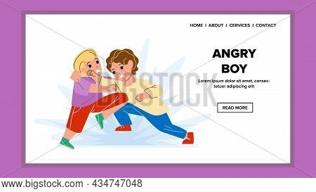 Angry Boy Kicking Classmate On Playground Vector. Angry Boy Kick And Fight With Pupil In School, Chi