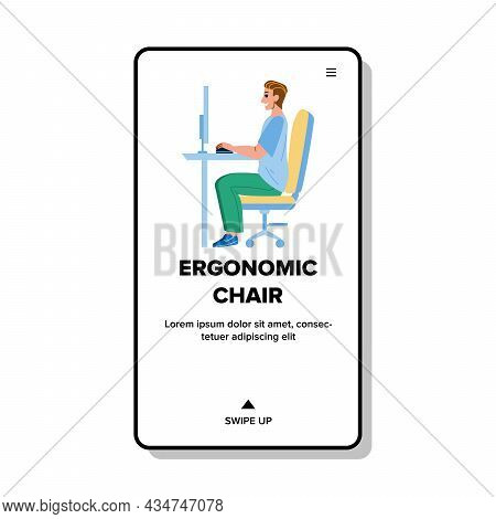 Ergonomic Chair For Correct Healthy Posture Vector. Man Worker Sitting On Ergonomic Chair For Comfor