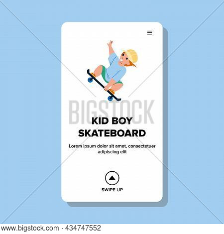 Kid Boy Riding Skateboard In Extreme Park Vector. Schoolboy Child Ride And Jump On Skateboard In Ska