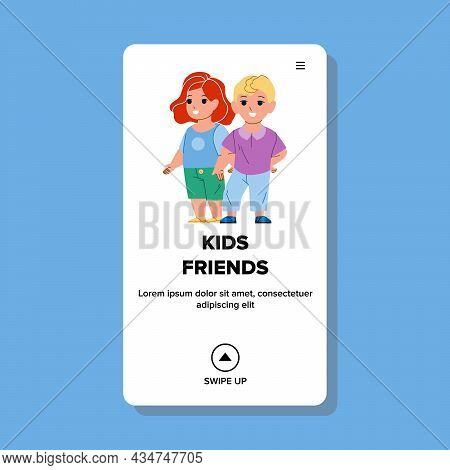 Kids Friends Playing Together On Playground Vector. Boy And Girl Kids Friends Enjoying Game Or Walki