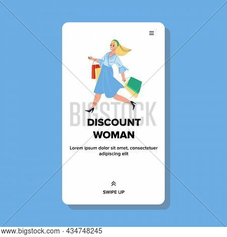 Woman Shopper Going To Discount Sale Store Vector. Happy Girl With Shopping Bag Making Purchase On S