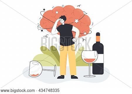 Alcohol Hangover Of Drunk Man With Strong Migraine, Headache. Addicted Character Standing Among Wine
