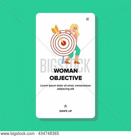 Woman Business Objective And Strategy Plan Vector. Young Businesswoman Objective And Success Goal Ac