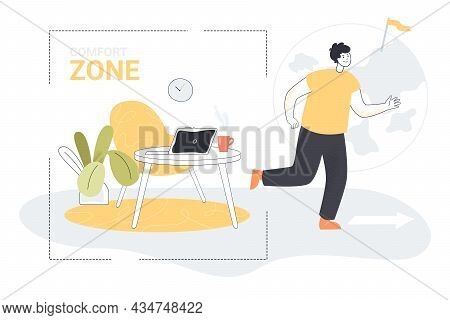 Business Person Leaving Comfort Zone. Businessman Walking To Exit Outside, Office Employee On Way To