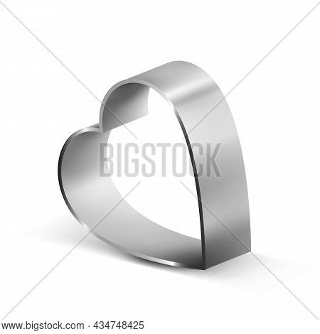 Cookie Cutter Metal Accessory In Heart Form Vector. Cookie Cutter For Baking And Cut Bakery Cake Bis