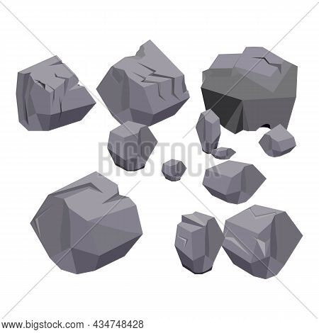 Rock Stone Cartoon Vector Set In A Flat Style With Variety Of Shapes. Realistic Embossed Stones Cart