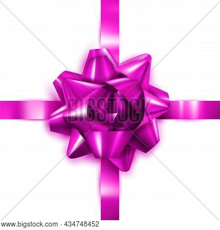 Gift Bow Decorate Box Present For Daddy Vector. Elegant Purple Gift Bow Decoration Celebration Cardb