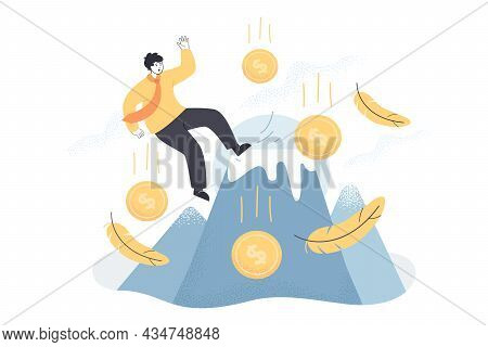 Unexpected Failure, Fall Of Businessman Due To Business Mistake. Accident With Careless Man Entrepre