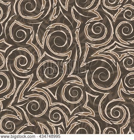 Stock Beige Seamless Vector Pattern Of Spirals And Corners On A Brown Background.beige Seamless Geom