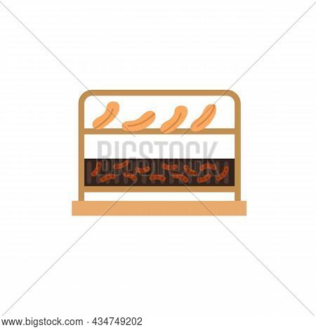 Vector Cartoon Flat Pieces Of Meat, Sausages On Bbq Grilling Grate Isolated On Empty Background-heal