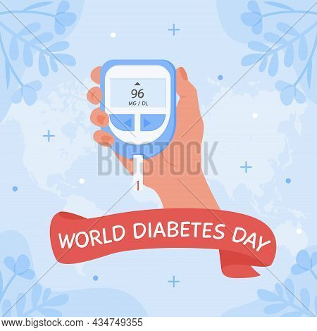 World Diabetes Day Square Banner Or Card. Human Hand Holding Glucometer To Measure Sugar Level By Fi
