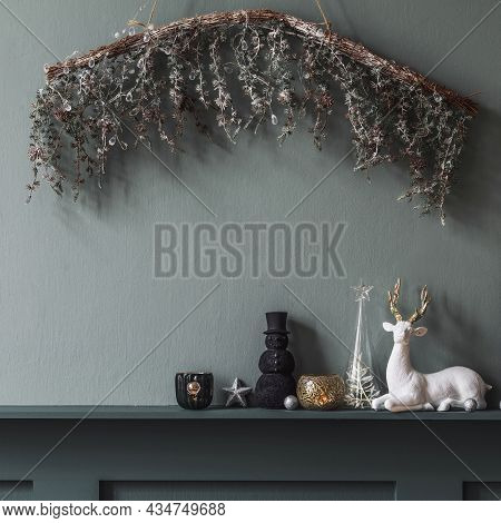 Christmas Composition On The Shelf In The Living Room Interior. Beautiful Decoration. Christmas Tree