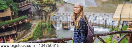 Banner, Long Format Woman Tourist With Umbrella In Sapa In The Fog, Northwest Vietnam. Vietnam Trave
