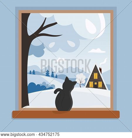 Window With Winter Landscape And Cat Sitting On The Windowsill And Looking Outside. Countryside Scen