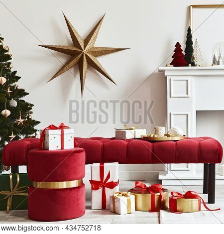 Christmas Composition With Beautiful Decoration, Christmas Tree And Wreath, Deer, Gifts And Accessor