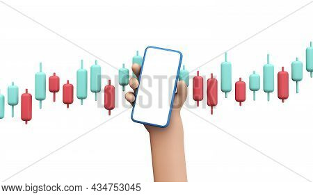Cartoon Style Hand Holding A Blank Smartphone With Trading Investment Forex Graph. 3d Rendering