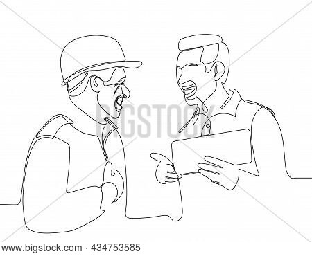 Workers Talking And Laughing At A Factory. Vector Illustration